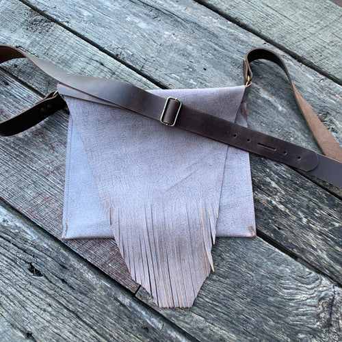 """Ghost"" Cross Body Fringe Leather Bag"