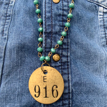Load image into Gallery viewer, 916 Brass Tag & Turquoise Beaded Necklace