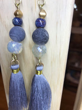 Load image into Gallery viewer, Blue Rough Agate  Stone & Tassel Earrings