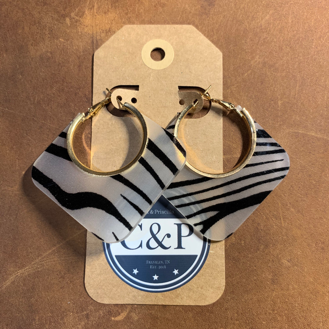 Zebra Print Acrylic & Gold Earrings