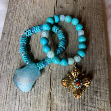 Load image into Gallery viewer, Turquoise & Glass Beaded Bracelet with Vintage Pendant Charm