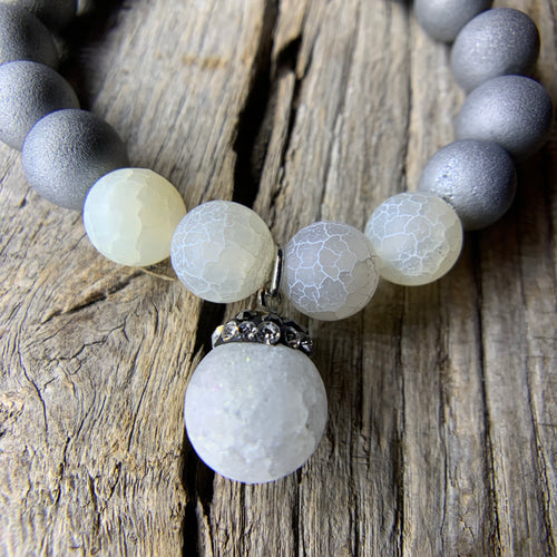 Silver Iris Agate Druzy & White Crackle Agate Beaded Bracelet with Large Agate Druzy Charm