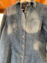 Load image into Gallery viewer, C&P Distressed Denim Button Up