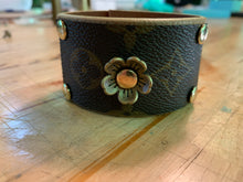 "Load image into Gallery viewer, ""Flower Power"" Vintage LV Leather Cuff"