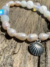 "Load image into Gallery viewer, White Fresh Water Pearls, White Crackle Agate & Magic ""Opal"" Beaded Bracelet with Silver Shell Charm"
