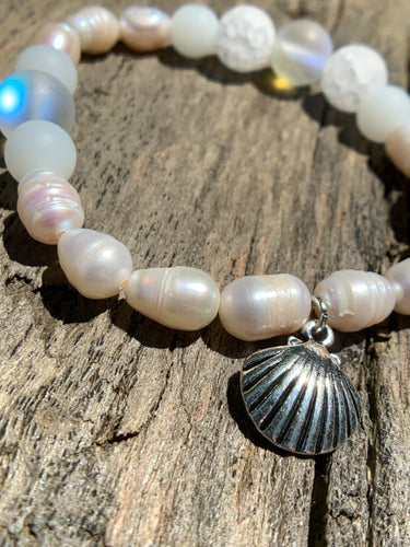 "White Fresh Water Pearls, White Crackle Agate & Magic ""Opal"" Beaded Bracelet with Silver Shell Charm"