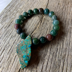 Fancy Jasper Stone Beaded Bracelet with Large Stone Accent