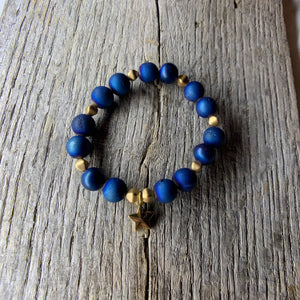 Blue & Gold Beaded Bracelet with Gold Star Charm