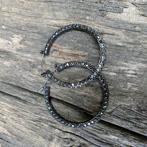 Midnight Black Hoop Earrings