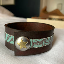 "Load image into Gallery viewer, ""Lone Star"" Leather Cuff"
