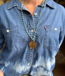 916 Brass Tag & Turquoise Beaded Necklace