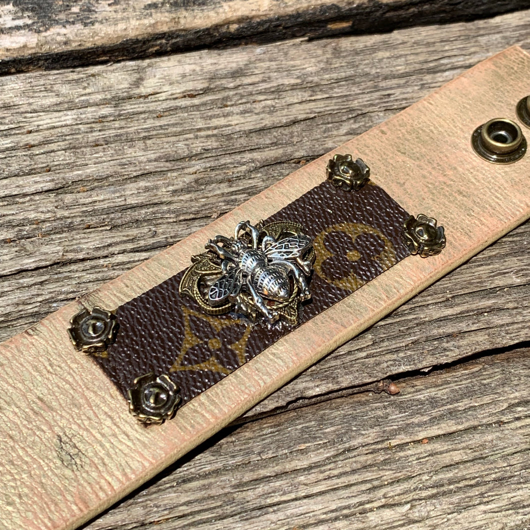 """Queen Bee"" Bracelet - Repurposed from Authentic Vintage Louis Vuitton"