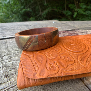 Private Collection Vintage Wood Bangle with Brass Details