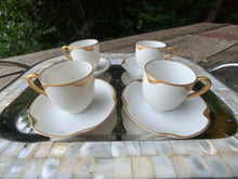 "Load image into Gallery viewer, Antique Haviland China Co. ""Silver Anniversary"" Pattern Espresso Cups & Saucers"