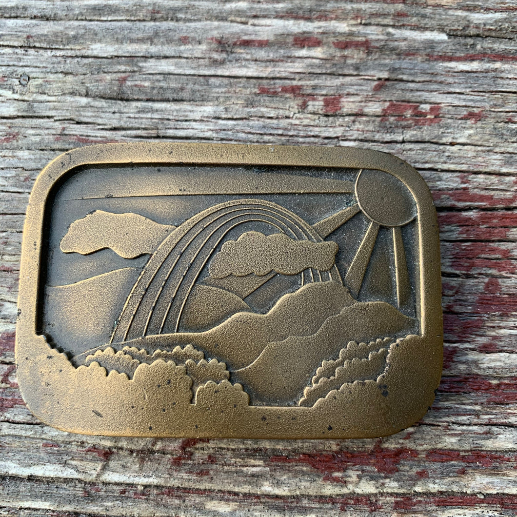 Vintage Rainbow Brass Belt Buckle