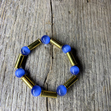 Load image into Gallery viewer, Vibrant Blue Glass Beaded & Brass Bullet Casing Bracelet