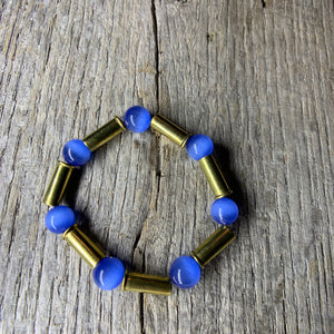 Vibrant Blue Glass Beaded & Brass Bullet Casing Bracelet