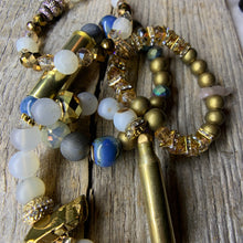 Load image into Gallery viewer, Vintage Brass Bullet Casing & Agate & Stone Beaded Bracelet