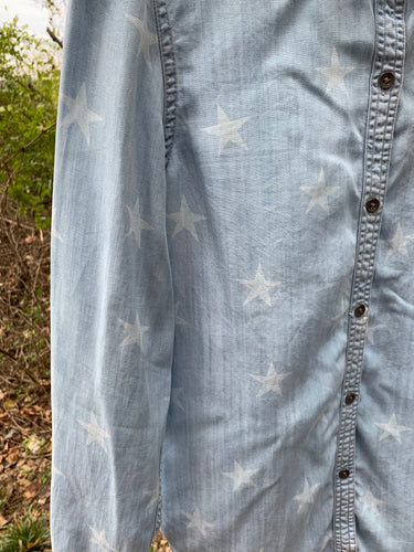 Star Printed Denim Shirt