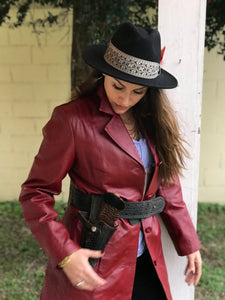 Vintage Red Leather Coat