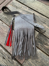 "Load image into Gallery viewer, ""The Gypsy"" Crossbody Fringed Bag In Silver Pigskin"