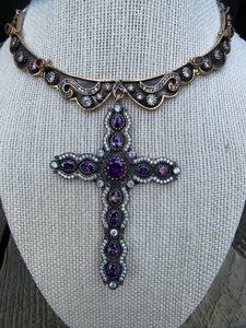 Antique Brass Collar Necklace with Cross Pendant