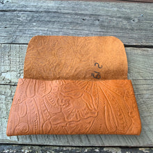 "Load image into Gallery viewer, ""The Priscilla"" Clutch in Tobacco Embossed Leather"