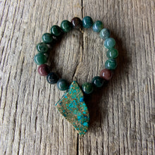 Load image into Gallery viewer, Fancy Jasper Stone Beaded Bracelet with Large Stone Accent