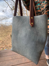 Load image into Gallery viewer, Big Mama Tote in Distressed Denim Hued Leather