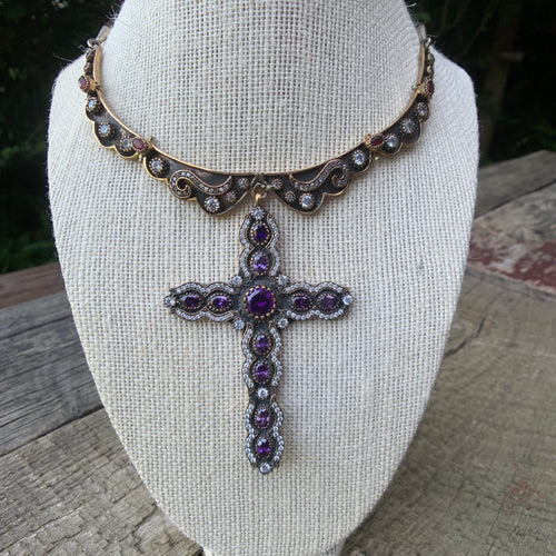 Private Collection Antique Brass Collar Necklace with Cross Pendant