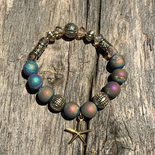 Multi Iris Druzy Agate Bracelet with Starfish Charm
