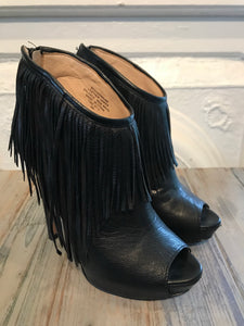 Fringed Leather Peep-Toe Booties