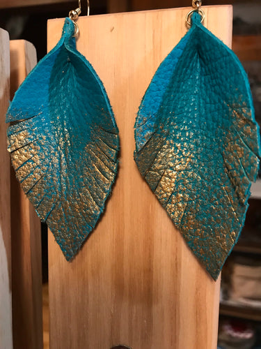 Turquoise Leather Feather Earrings with Hand Painted Gold Accents