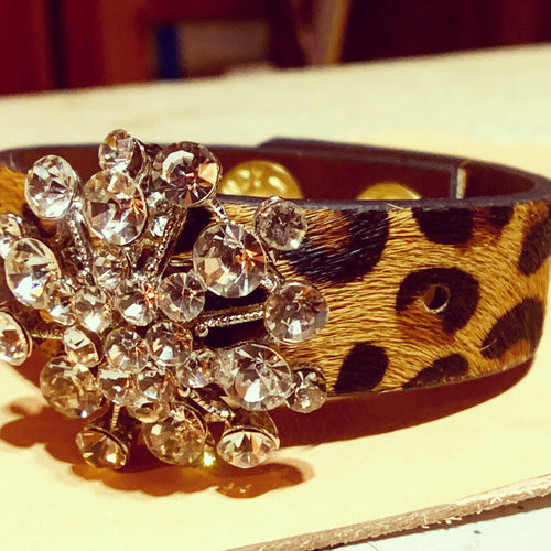 """Gigi"" Hair on Hide Cuff with Vintage Accent"