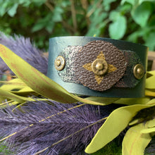 "Load image into Gallery viewer, ""Green Goddess"" Leather Cuff"