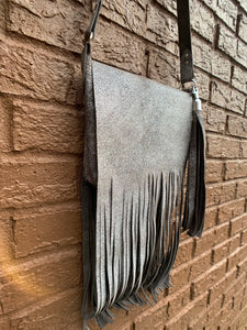 """The Gypsy"" Crossbody Fringed Bag In Silver Pigskin"