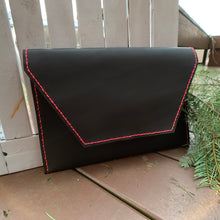 "Load image into Gallery viewer, ""The Carl"" in Dark Chocolate Leather with Neon Pink Stitching"