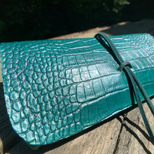 Load image into Gallery viewer, The Priscilla in Emerald Green Metallic Dyed Croc Embossed