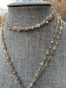 Natural Labradorite Rondelle Faceted wire wrapped