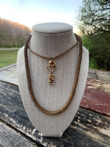 Vintage Gold Necklace with Rosebud Pendant