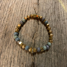 Load image into Gallery viewer, Delicate Gold Metal & Iris Wooden Beaded Bracelet
