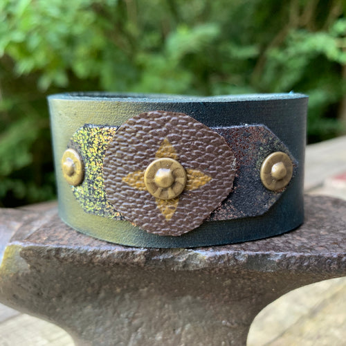 """Green Goddess"" Leather Cuff"