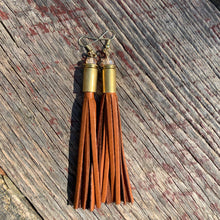 Load image into Gallery viewer, Leather Tassel Bullet Casing Earrings