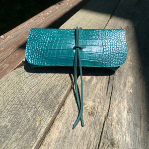 The Priscilla in Emerald Green Metallic Dyed Croc Embossed