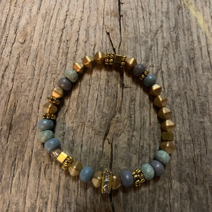 Delicate Gold Metal & Iris Wooden Beaded Bracelet