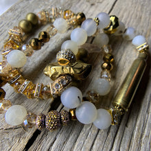 Load image into Gallery viewer, Brass Bullet Casing Bronze Luster Quartz & Marine Chalcedony Bracelet