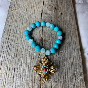 Turquoise & Glass Beaded Bracelet with Vintage Pendant Charm