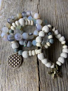 Rough Agate White Beaded Bracelet with Gold Bee Charm