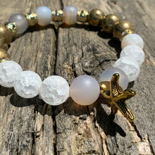 Load image into Gallery viewer, Marine Chalcedony, Matte Crackle Agate & Gold Druzy Agate Beaded Bracelet with Starfish Charm