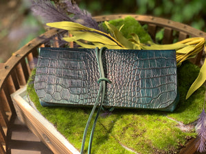 """The Priscilla"" Custom Dyed Crocodile Embossed Leather"